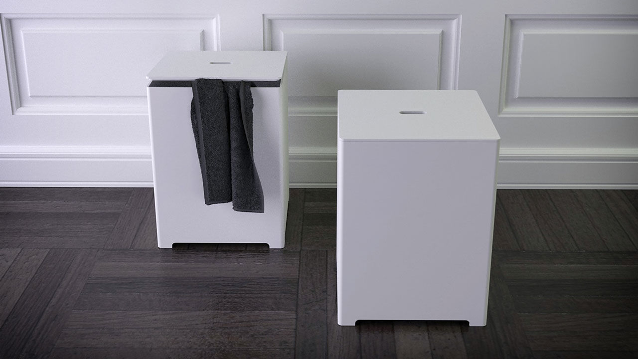 Sgabello moderno in solid surface da bagno bianco free by