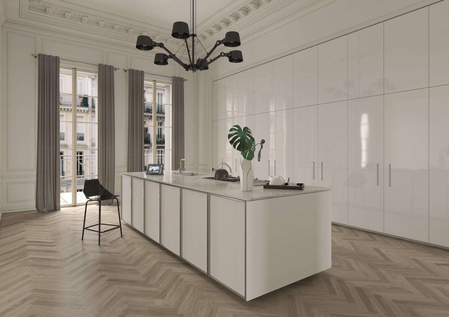 Cucina moderna / in acciaio inox / impiallacciata in legno / a ...
