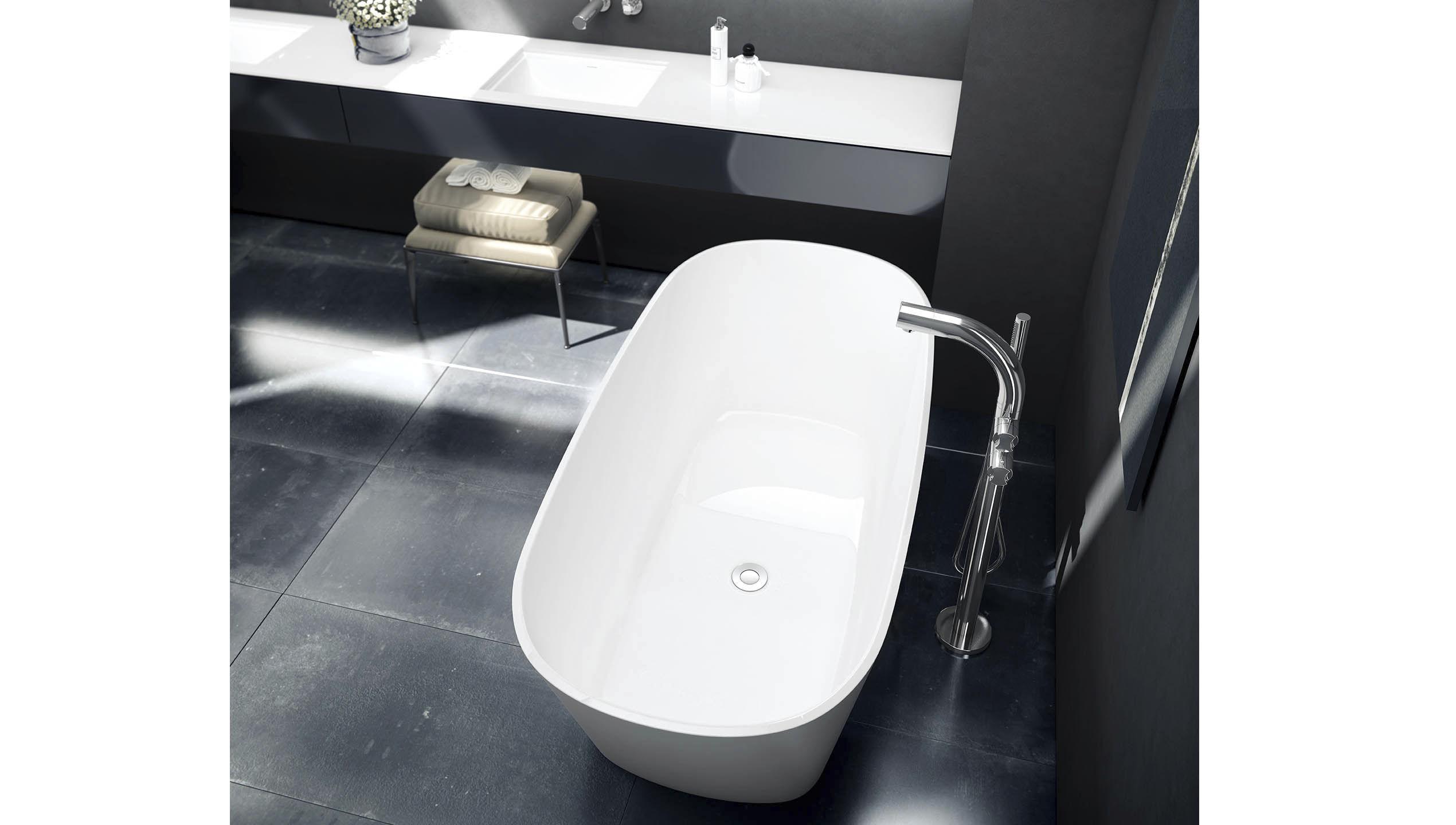 Vasca Da Bagno Amalfi Prezzo : Vasca da bagno ad isola ovale in resina in pietra calcarea
