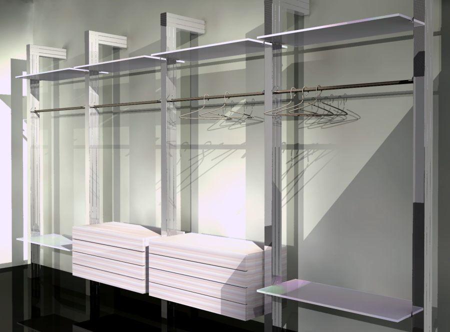 Misure Scaffali Cabina Armadio : Cabina armadio moderna in legno in vetro in alluminio
