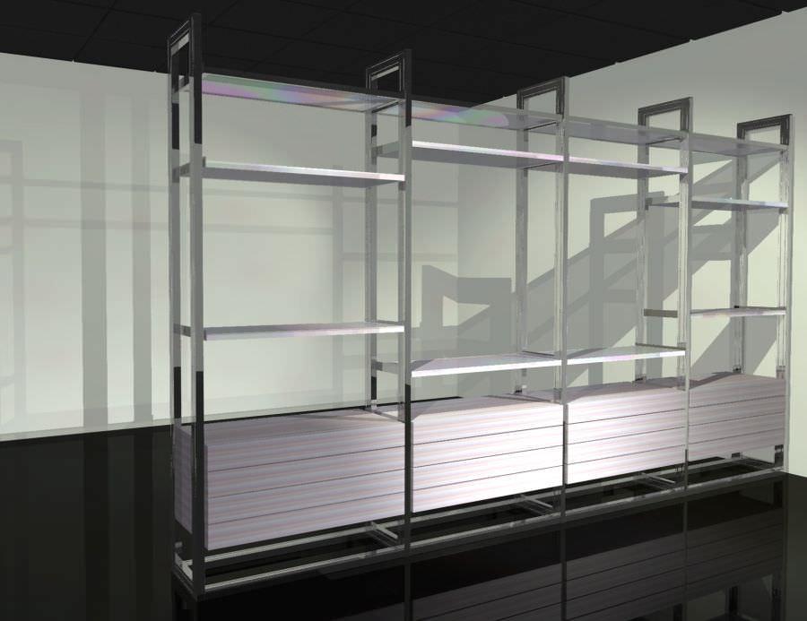 Scaffale moderno in legno in alluminio in vetro self