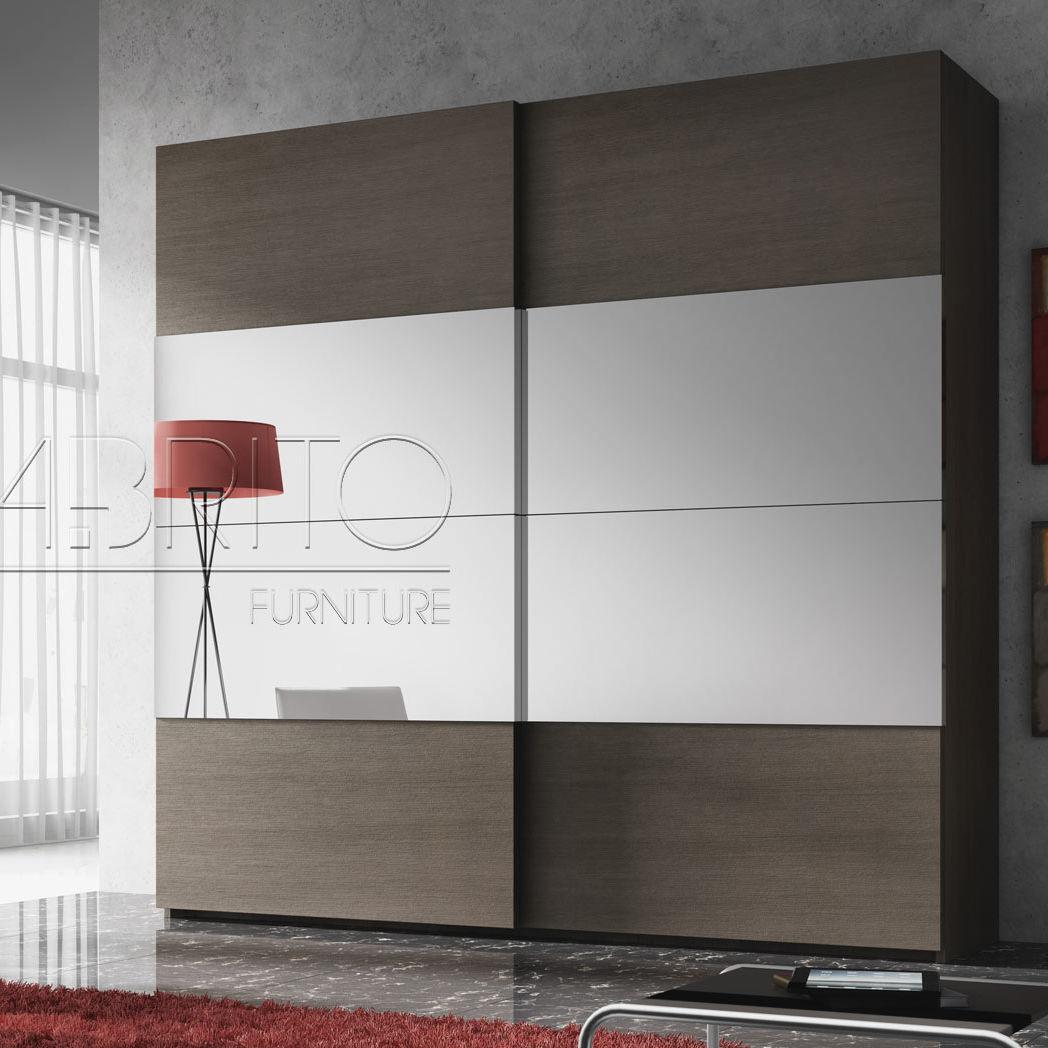 Armadio moderno / in melamminico / con porta scorrevole / a specchio ...