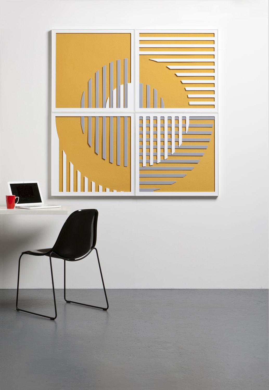 Pannello acustico a muro / in acrilico / a motivo stampato / per ...