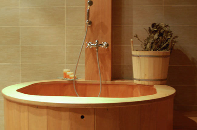 Vasca Da Bagno Ofuro : Vasca da bagno da appoggio tonda in legno idromassaggio
