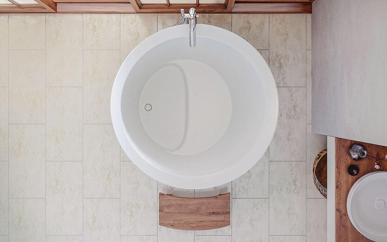 Vasca Da Bagno Ofuro : Vasca da bagno ad isola tonda in solid surface profonda