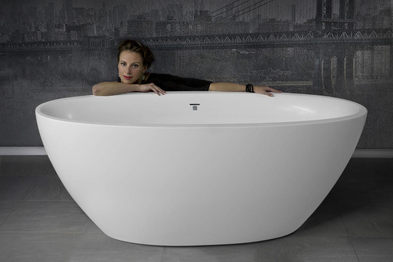Vasca da bagno da appoggio ovale in solid surface in pietra