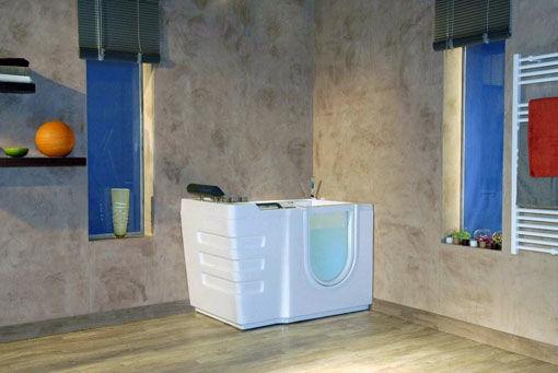 Vasca da bagno da appoggio in acrilico con porte per