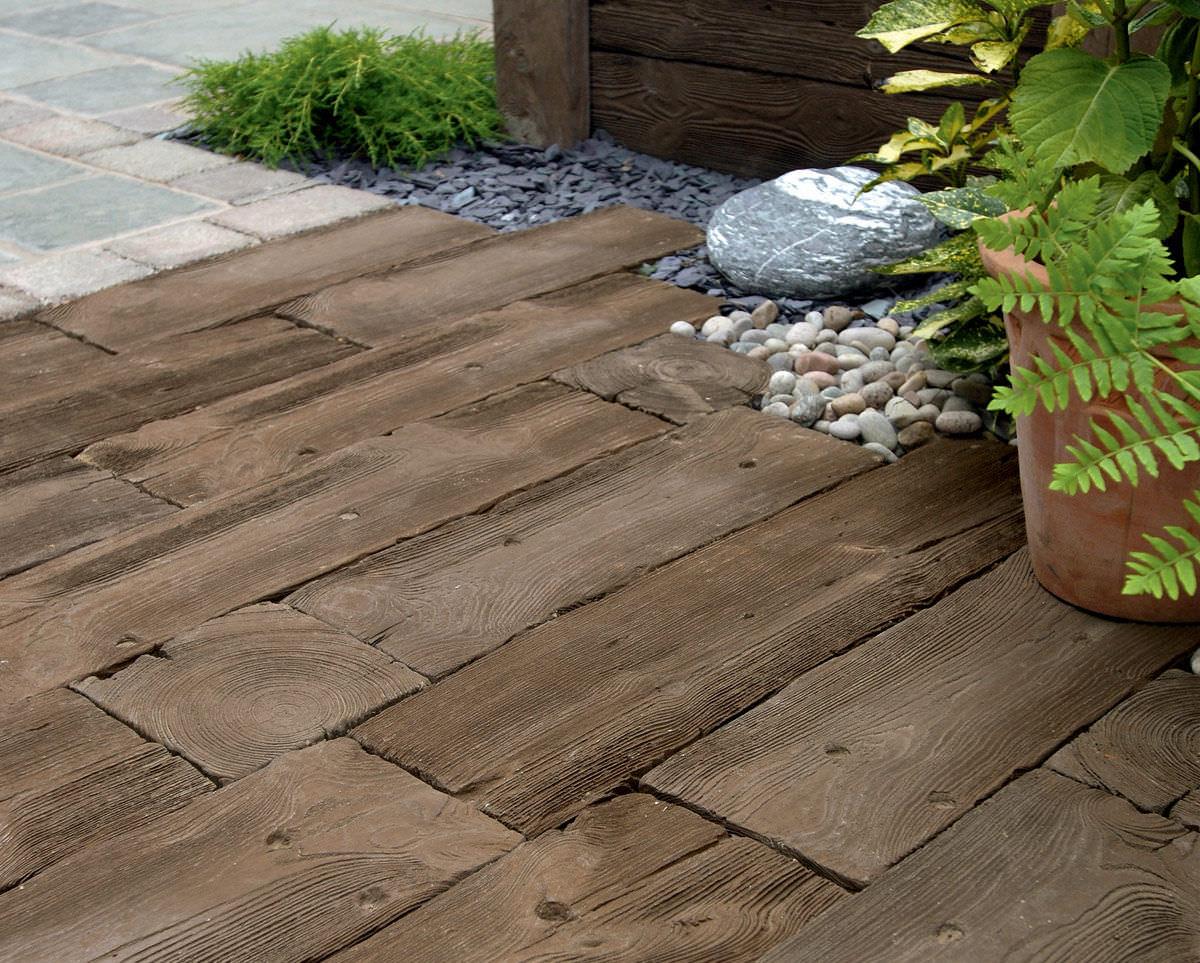 Piastrella da esterno per pavimento in legno in calcestruzzo