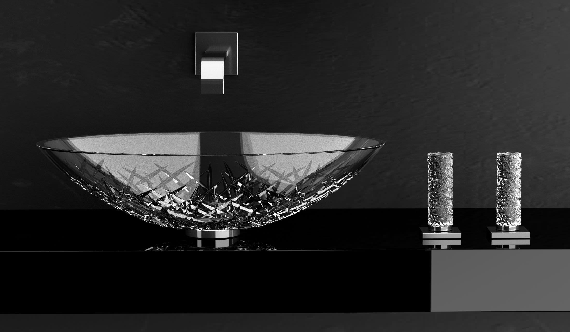Miscelatore doppio comando per lavabo / da appoggio / in cristallo ...