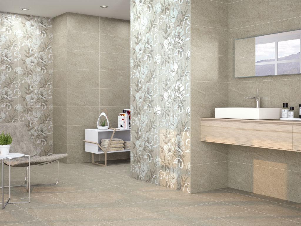 Piastrella da bagno da pavimento in ceramica motivo floreale