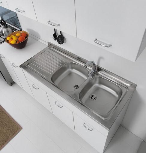 Lavello a 2 vasche / in acciaio inox / con gocciolatoio - COLAVENE