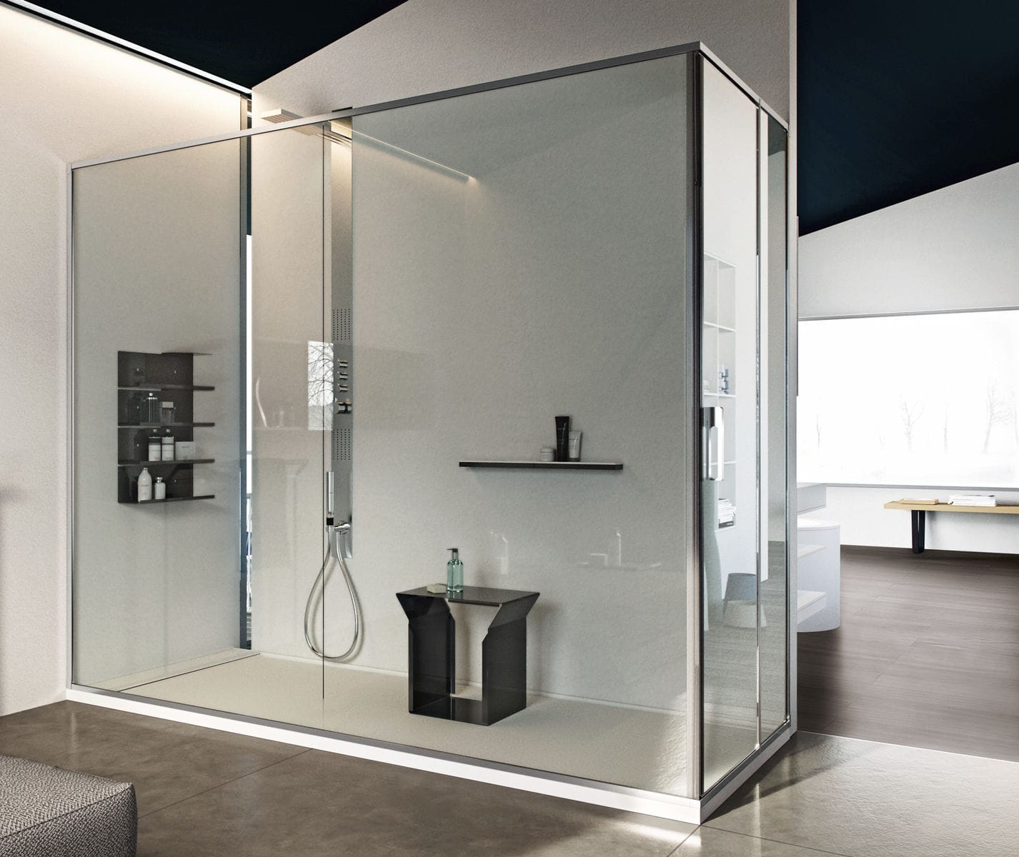 Piatto doccia rettangolare / in Corian® / rasoterra - SLIM - MAKRO