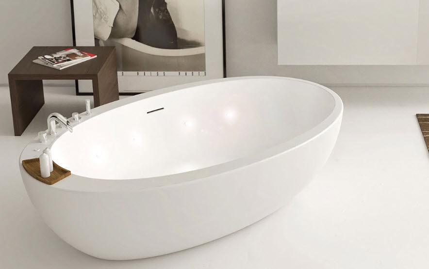 vasca da bagno da appoggio ovale in corian elitechnic