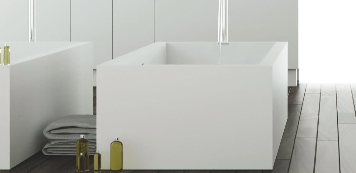 vasca da bagno da appoggio quadrata in corian square