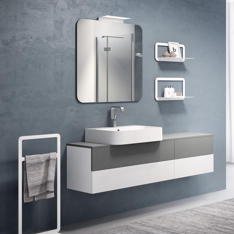 Mobile lavabo sospeso / in ceramica / moderno / con cassetti ...