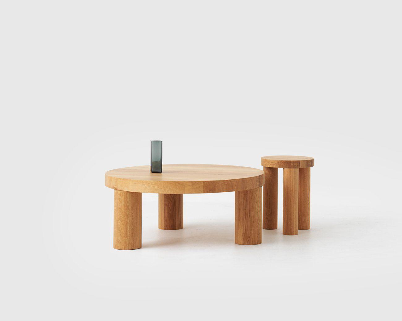 Tavolo d appoggio moderno in quercia tondo offset by