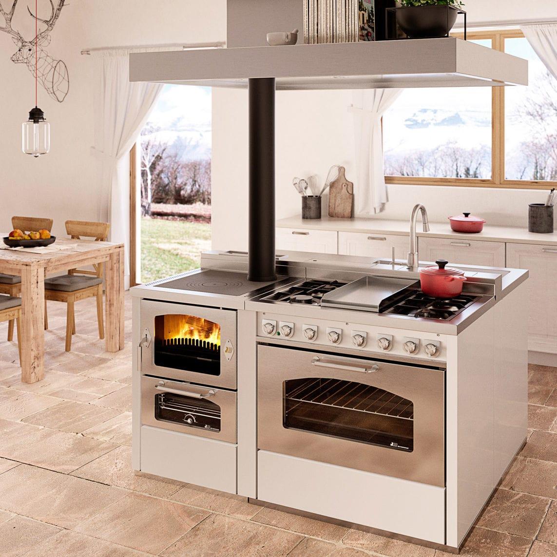 Blocco cucina a legna / con cappa integrata - Combinata DOMINO D6+ ...