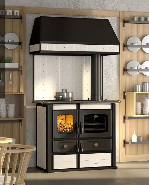 Blocco cucina a legna / in ghisa / con cappa integrata - HELENA ...