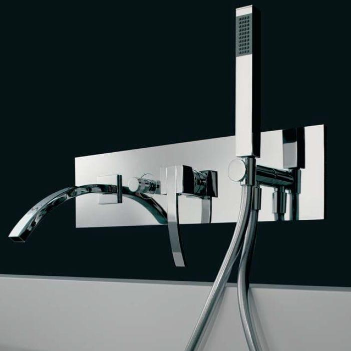 miscelatore per vasca da parete in metallo cromato da bagno seta by marco