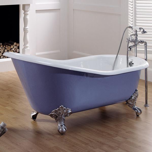 vasca da bagno su piedi ovale in ghisa lavande