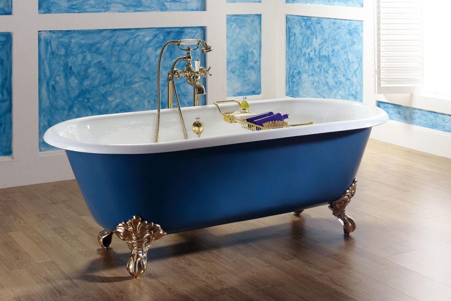 Vasca Da Bagno Con Piedini Dimensioni : Vasca da bagno su piedi ovale in ghisa 4050 4070 bleu provence