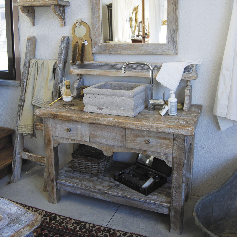 mobile lavabo da appoggio in legno classico vintage