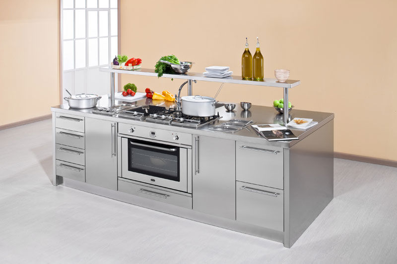 Cucina moderna / in acciaio inox / con isola - WORK STATION - ARCA ...