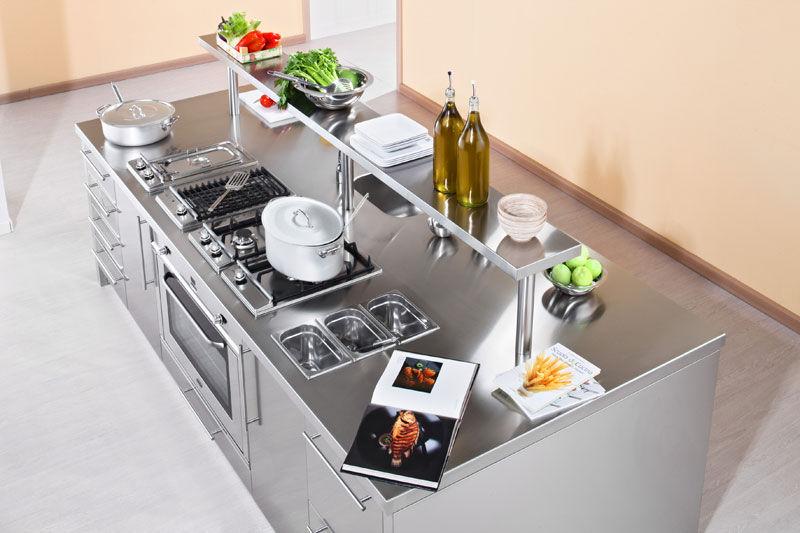 Cucina moderna / in acciaio inox / con isola - WORK STATION - ARCA ...