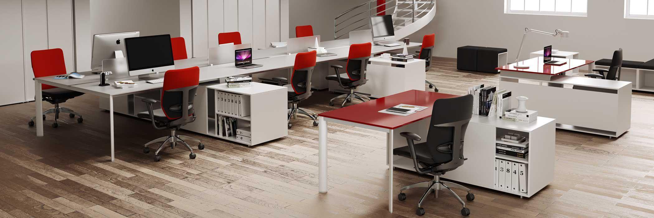 Scrivania per open space / in alluminio / moderna / per uso ...