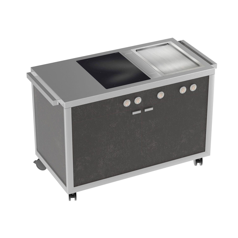 Cucina mobile / moderna / in acciaio inox / con impugnature ...