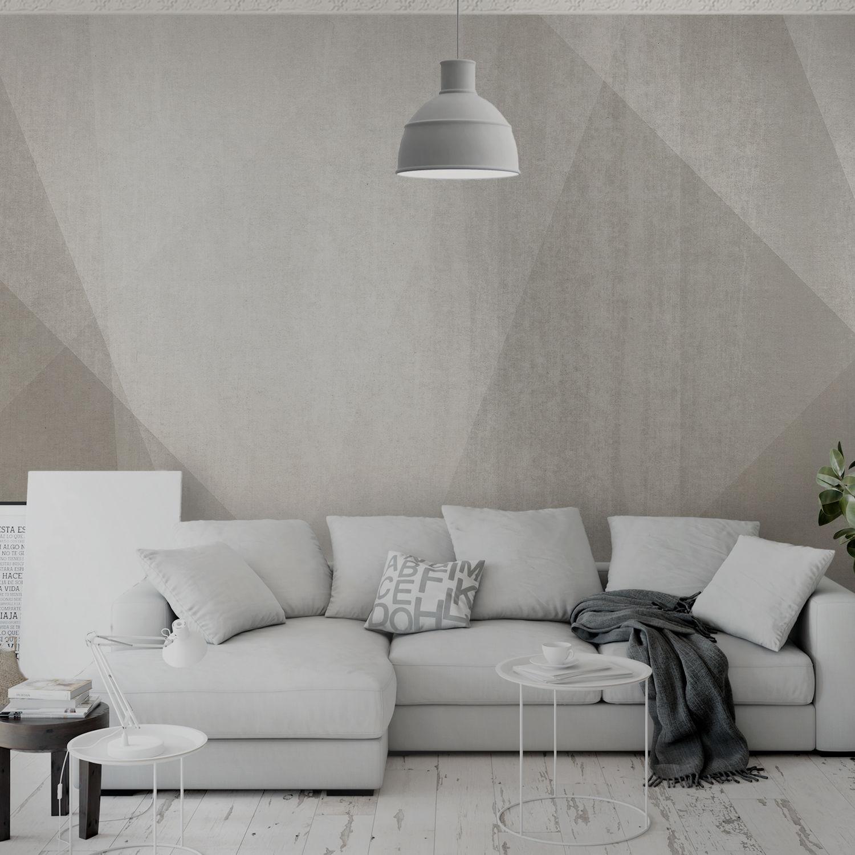 Carta da parati moderna geometrica aspetto tessuto grigia