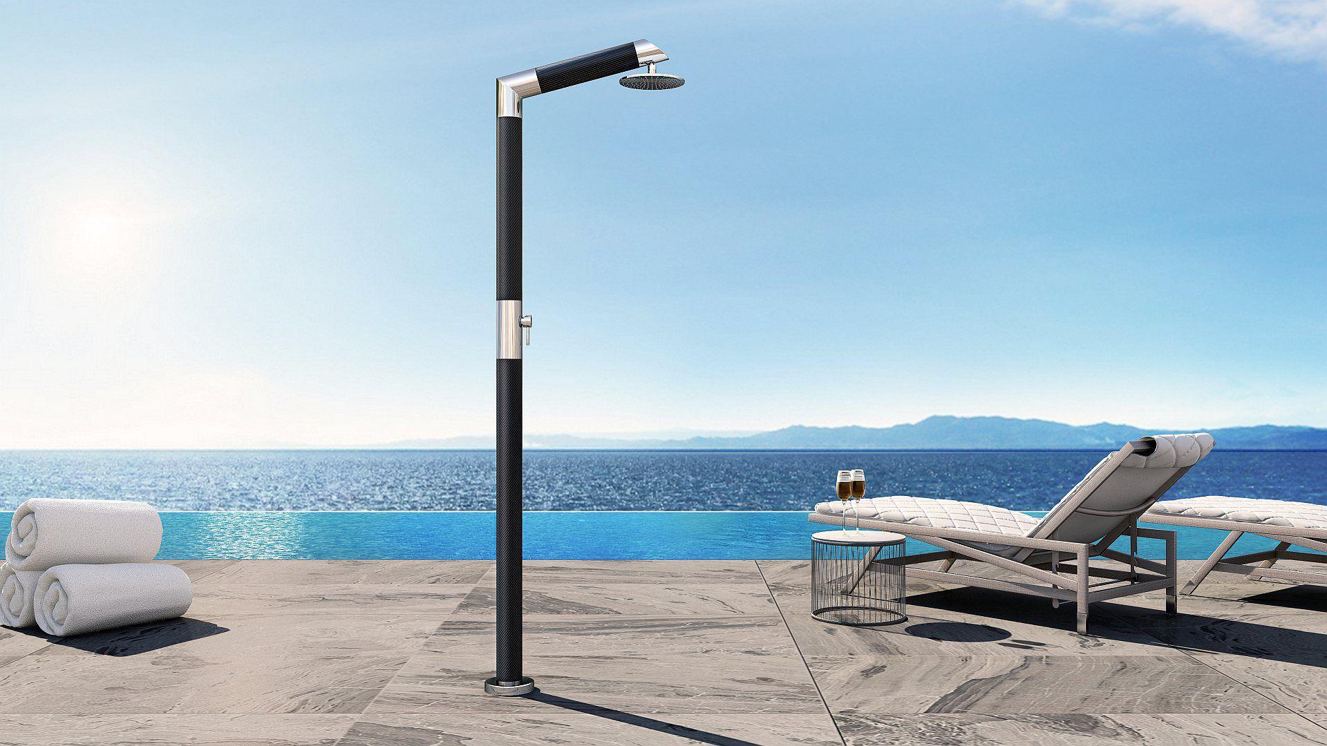 Doccia da esterno per piscina in acciaio inossidabile carbon