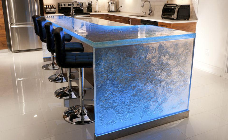 Bancone da cucina / in vetro / dritto / luminoso - ThinkGlass