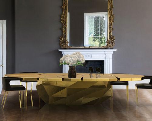 Tavolo da pranzo design originale / in legno / ovale / dorato ...