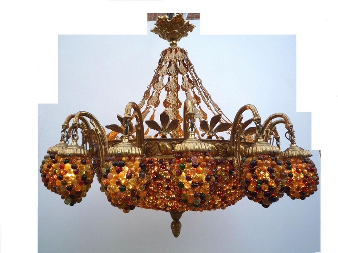 Lampadario in stile barocco in vetro in bronzo oled