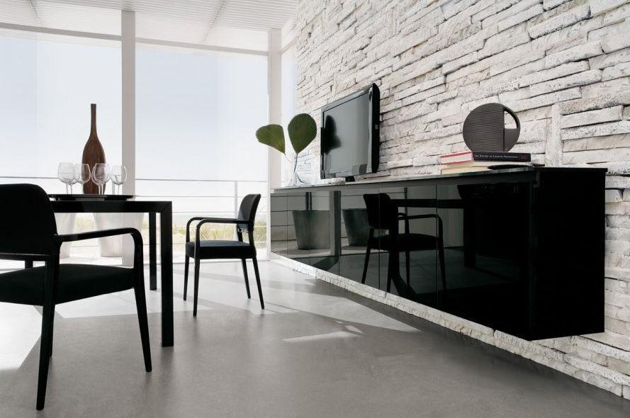 Credenza Moderna Laccata Nera : Credenza a muro moderna in legno laccato brillante nera
