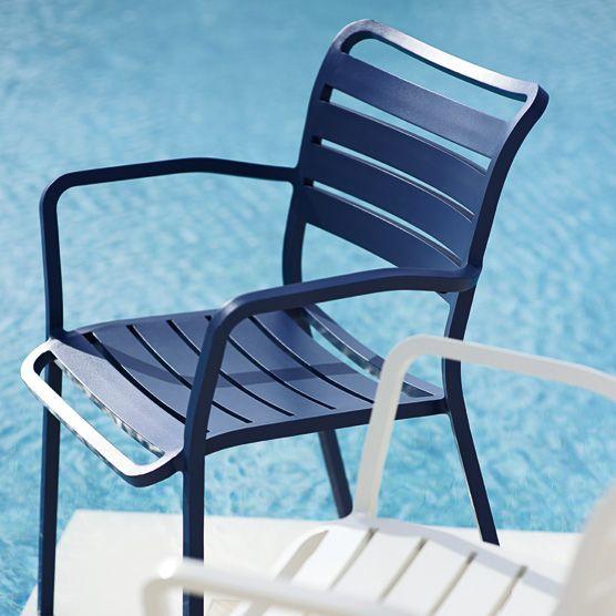 Sedie Con Braccioli Da Giardino.Sedia Da Giardino Moderna Con Braccioli In Alluminio Ocean