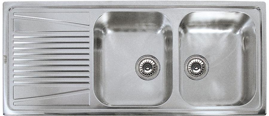 lavello a 2 vasche in acciaio inox con gocciolatoio river 500