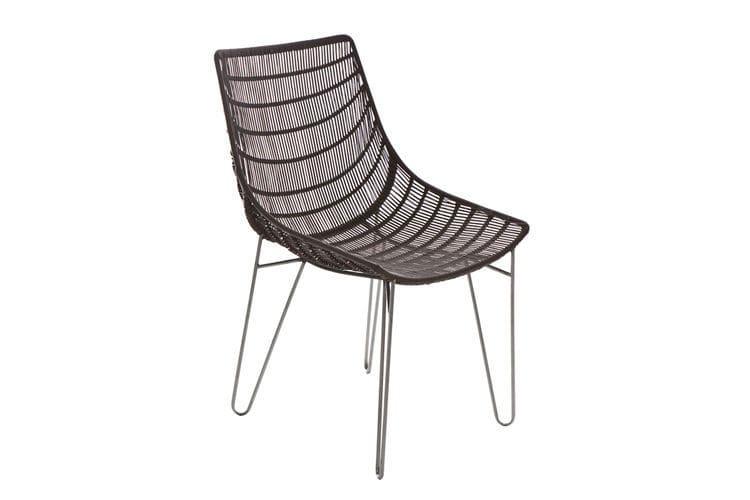 Sedia da giardino moderna in fibre sintetiche in acciaio