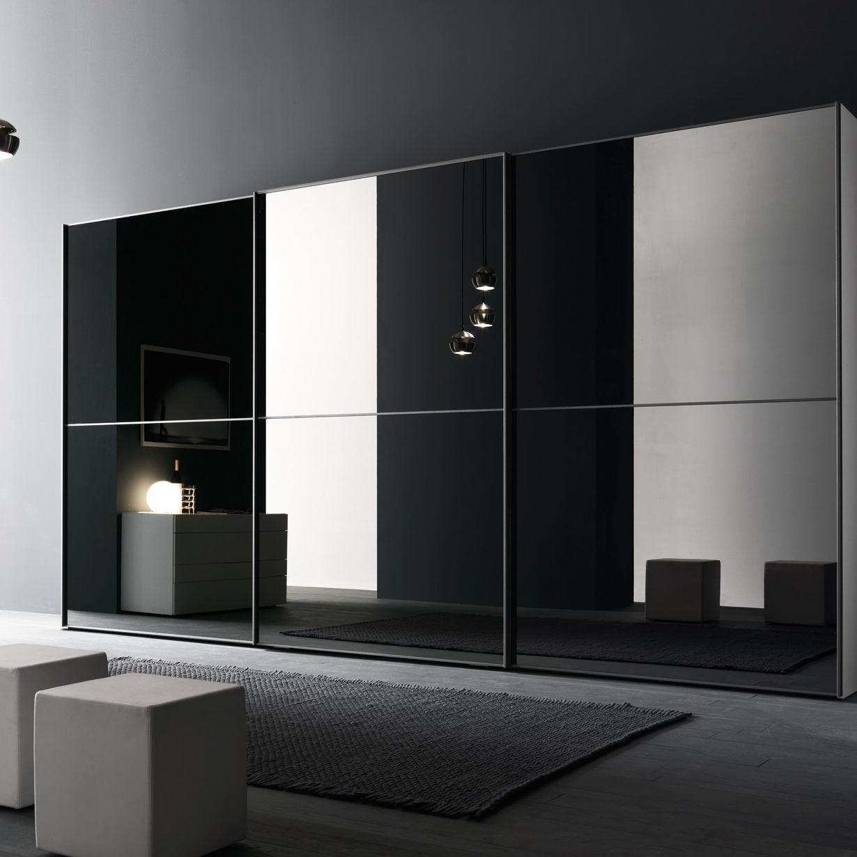 Armadio moderno / in vetro / con porta scorrevole / a specchio ...