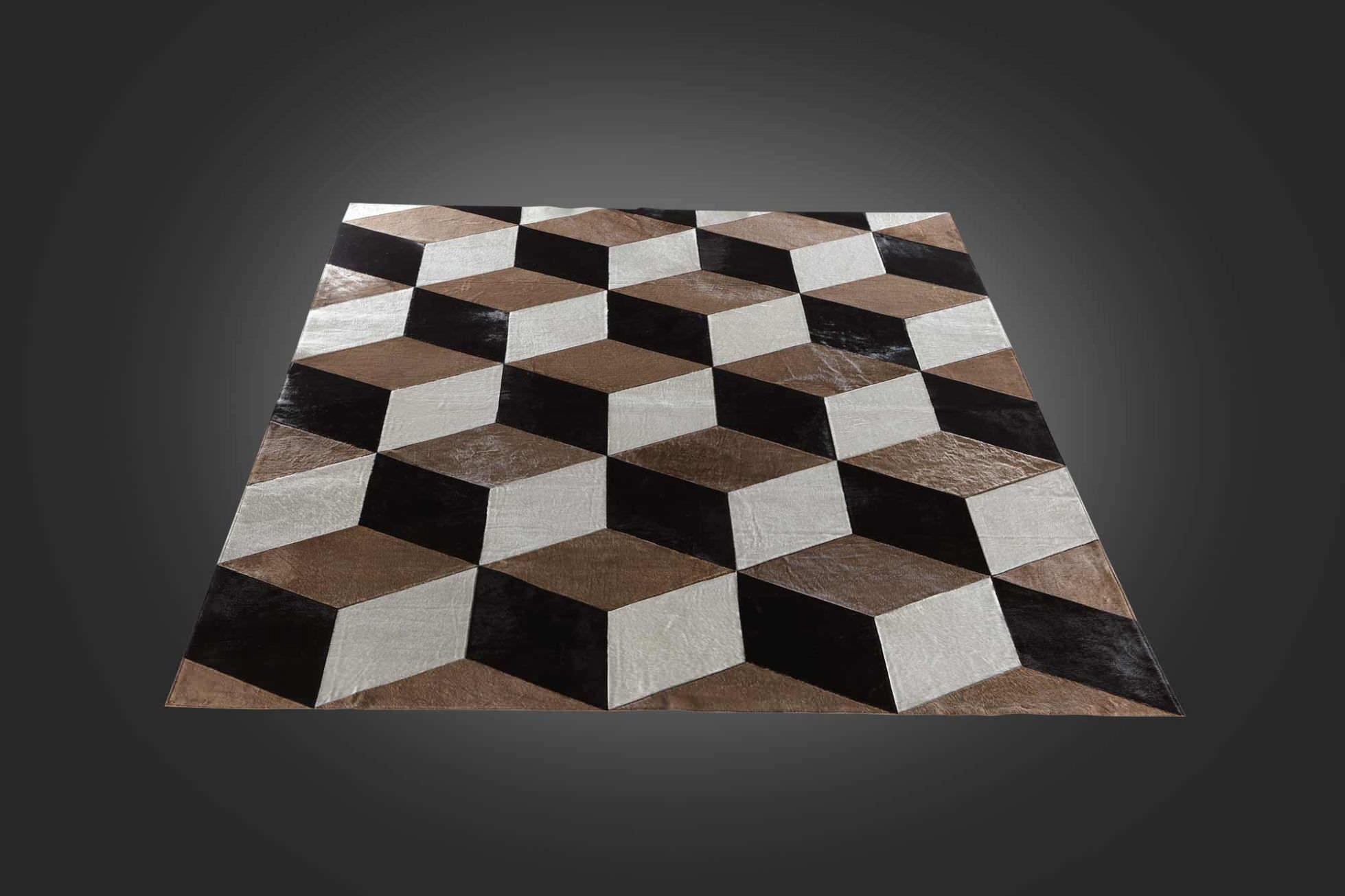 Tappeto moderno / a motivi geometrici / in pelle di mucca ...