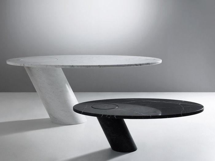 Tavolo design originale in marmo tondo mangiarotti