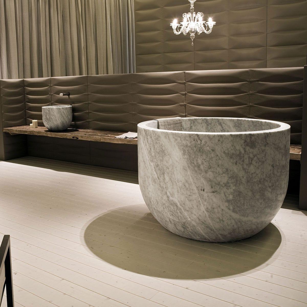 vasca da bagno da appoggio ovale in pietra naturale in marmo ciotola by marco w fagioli ed emanuel gargano