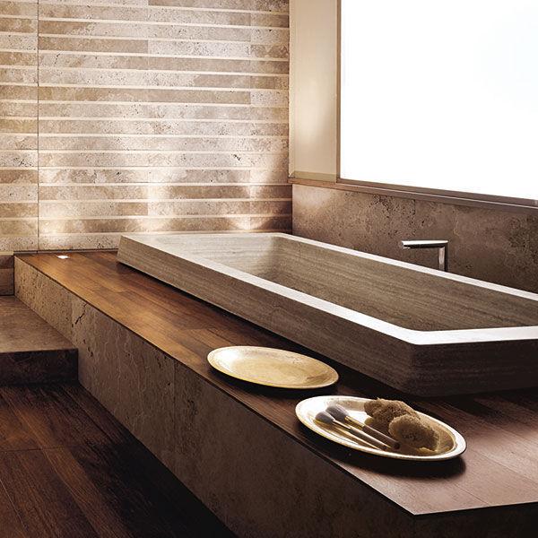 vasca da bagno da appoggio in pietra naturale aqua by studio padrini vaselli marmi
