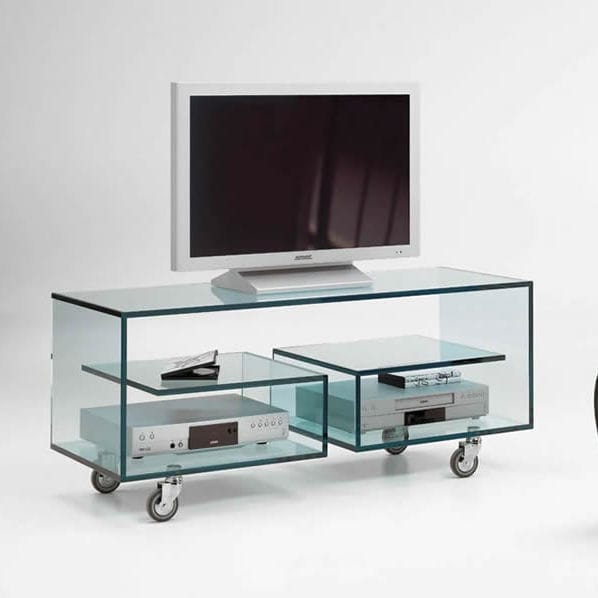 Mobile TV moderno / hi-fi / con ruote / in vetro - FLÒ by Isao Hosoe ...