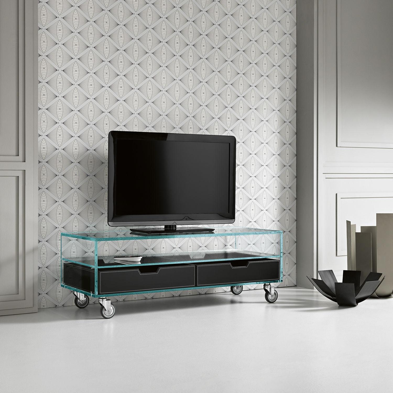 Mobile TV moderno / con ruote / in vetro - COMO BASSO by Marco ...