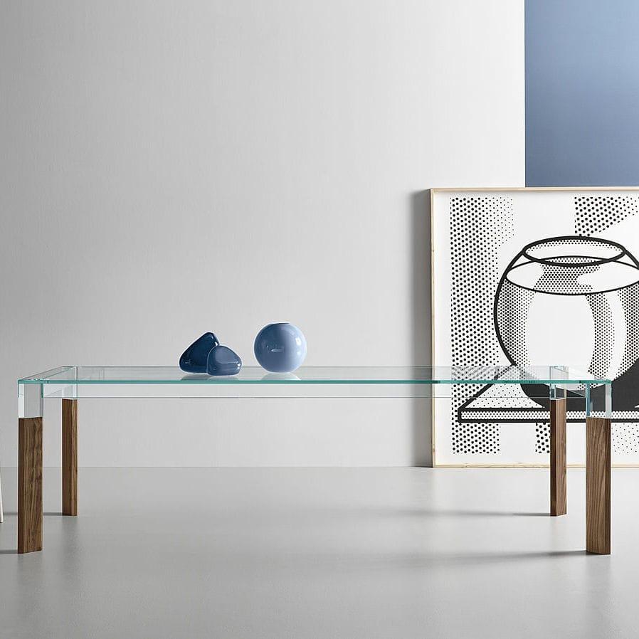 Tavolo da pranzo moderno / in legno / in vetro / rettangolare ...