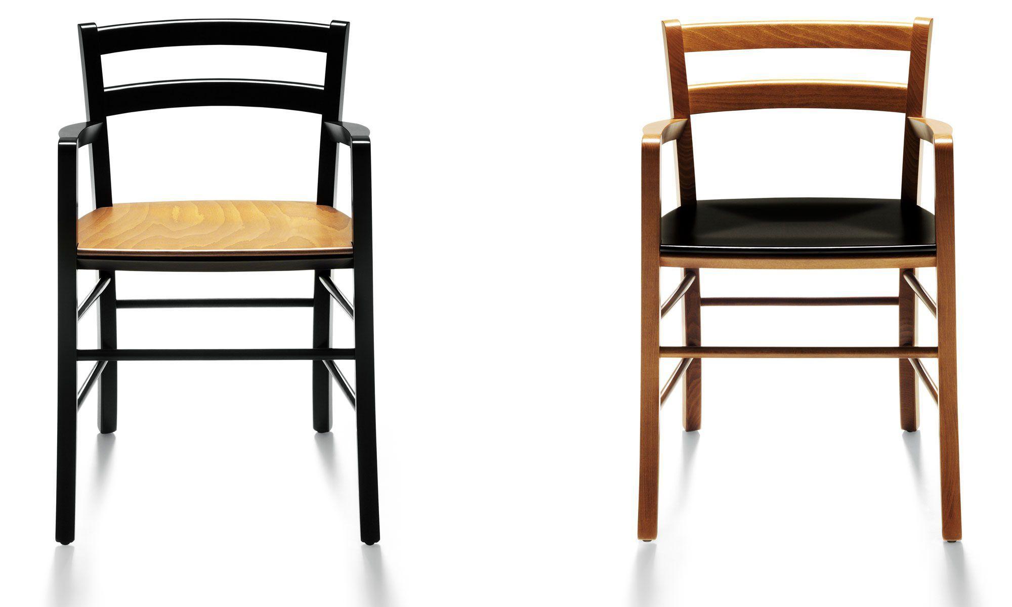 Sedia moderna / con braccioli / in faggio / di Vico Magistretti ...