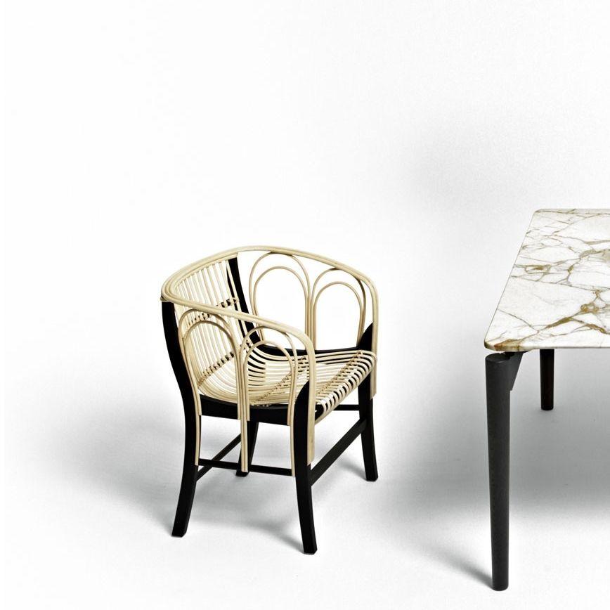 Sedia moderna / con braccioli / con cuscino rimovibile / in bambù ...