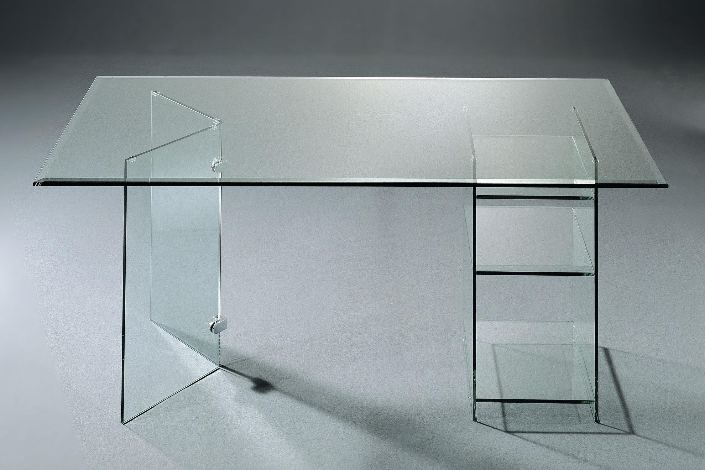 Scrivania in vetro moderna con vano contenitore su misura